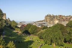 View on Edinburgh with Princess Street Gardens stock photo
