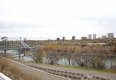 Downtown edmonton by walterdale Royalty Free Stock Photography