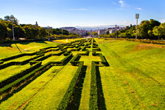 View of Eduardo VII park and Marques de Pombal square Royalty Free Stock Image