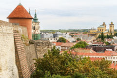View from the Eger Castle in Hungary. The view of the Basilica from the ruins of the Castle of Eger, Hungary Stock Photography