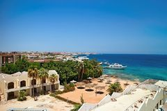 View of the Egyptian Hurghada at the Red Sea royalty free stock photography