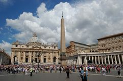 A view of the Egyptian obelisk and St. Peter's Basilica in Saint Peter's Square (Piazza San Pietro) Stock Images
