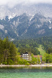 View of Eibsee. Bavaria. Germany. Crystal clear lake in the background of mountains Stock Images