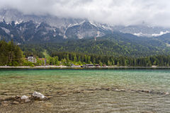View of Eibsee. Bavaria. Germany. Crystal clear lake in the background of mountains Stock Photography