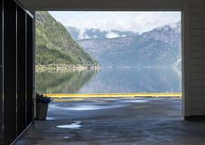 View on the eidfjord in norway. View from the jetty on the eidfjord in norway in summer Stock Photos