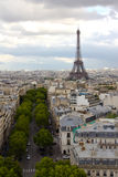 View of Eifel Tower from Arc de Triomphe. Eifel Tower view from the top of Arc de Triomphe Royalty Free Stock Images