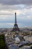 View of Eifel Tower from Arc de Triomphe. Eifel Tower view from the top of Arc de Triomphe Stock Photo