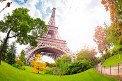 View of Eifel tower from bellow in Paris Stock Photo