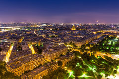 View from Eiffel. Paris view from Eiffel at night Royalty Free Stock Image