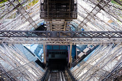 View from Eiffel Tower. A view from inside of Eiffel Tower, the elevator tunnel Royalty Free Stock Images