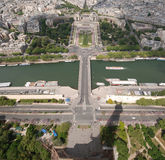 View from Eiffel tower. View at Palais of Chaillot from Eiffel tower Royalty Free Stock Images