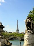 View on the Eiffel tower. From Alexandre III bridge Royalty Free Stock Photos