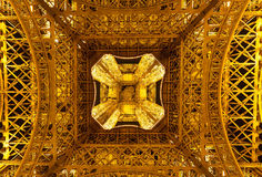 View of Eiffel tower from below at night Royalty Free Stock Photos