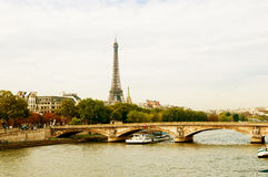 Eiffel Tower and bridge Stock Photography