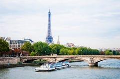 Eiffel Tower and bridge Stock Photos