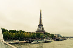 View of the Eiffel Tower and bridge Royalty Free Stock Photos