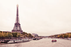 View of the Eiffel Tower and bridge Royalty Free Stock Image