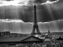 View of Eiffel Tower from a Building Roof, Paris, France Royalty Free Stock Photos