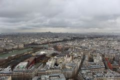 View from the Eiffel Tower on a cloudy day royalty free stock photography