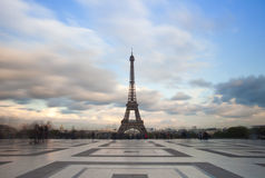 View of the Eiffel tower with dramatic sky from Trocadero in Paris Royalty Free Stock Images