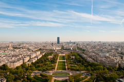 View from Eiffel tower on famous Champs de Mars Royalty Free Stock Photo