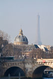View of Eiffel Tower through Pont Neuf in Paris Royalty Free Stock Photo
