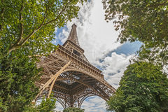 View on Eiffel tower from garden. At summer day Royalty Free Stock Photos