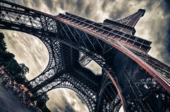 View of Eiffel tower in Grungy dramatic style Royalty Free Stock Photo