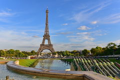 View of the Eiffel Tower from Jardins du Trocadero park in Paris Royalty Free Stock Image