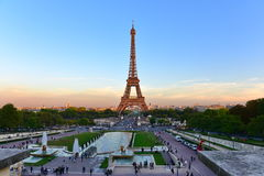 View of the Eiffel Tower from Jardins du Trocadero park in Paris Stock Photos