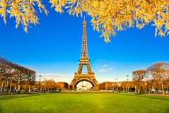 Eiffel Tower, Paris,France. View of the Eiffel Tower and Les Invalides at sunrise with autumn leaves, Paris, France Royalty Free Stock Photos