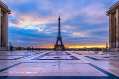 Eiffel Tower, Paris, France. View of the Eiffel Tower and Les Invalides at sunrise, Paris, France Stock Photography