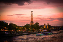 View on Eiffel Tower in the night Royalty Free Stock Photos