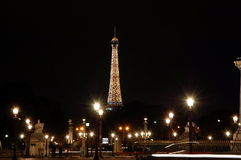 View of the Eiffel Tower   at night Royalty Free Stock Images