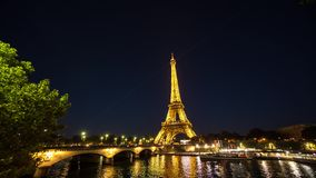 View on Eiffel tower at night timelapse June 2, 2017 stock footage
