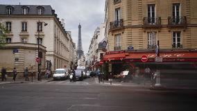 A view of the eiffel tower from one of the many streets of paris france eur stock video