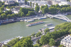 View from the Eiffel Tower. Paris is the capital city of France. It is situated on the River Seine, in northern France, at the heart of the Île-de-France region Stock Photo