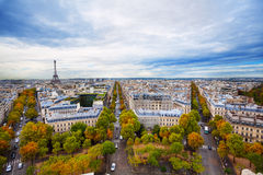 View of Eiffel tower and Paris form Triumph Arc. View of Eiffel tower form Arc de Triumph and panorama of Paris boulevards Royalty Free Stock Photography