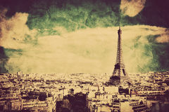 View on the Eiffel Tower and Paris, France. Retro vintage style royalty free stock photo