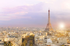 View of Eiffel tower and Paris. Royalty Free Stock Photos