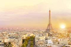 View of Eiffel tower and Paris. Stock Photography