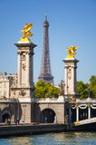 View of Eiffel tower from Pont des Invalides in Paris Royalty Free Stock Image