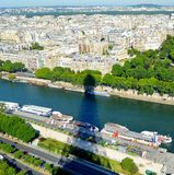 The view from eiffel tower. The Shadow of eiffel  tower With the view on Paris Royalty Free Stock Photography
