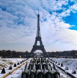 Paris - Snowy Eiffel Tower Stock Photography