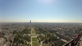 View from the Eiffel tower on a sunny day in Paris, France stock footage