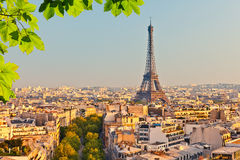 View on Eiffel tower at sunset Royalty Free Stock Images