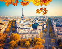 View on Eiffel tower at sunset Stock Image