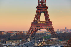 View of the Eiffel tower at sunset Royalty Free Stock Photos