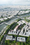 View from the Eiffel Tower to Paris and the river Seine and bri Royalty Free Stock Photo
