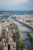 View from the Eiffel Tower to Paris and the river Seine Royalty Free Stock Photos